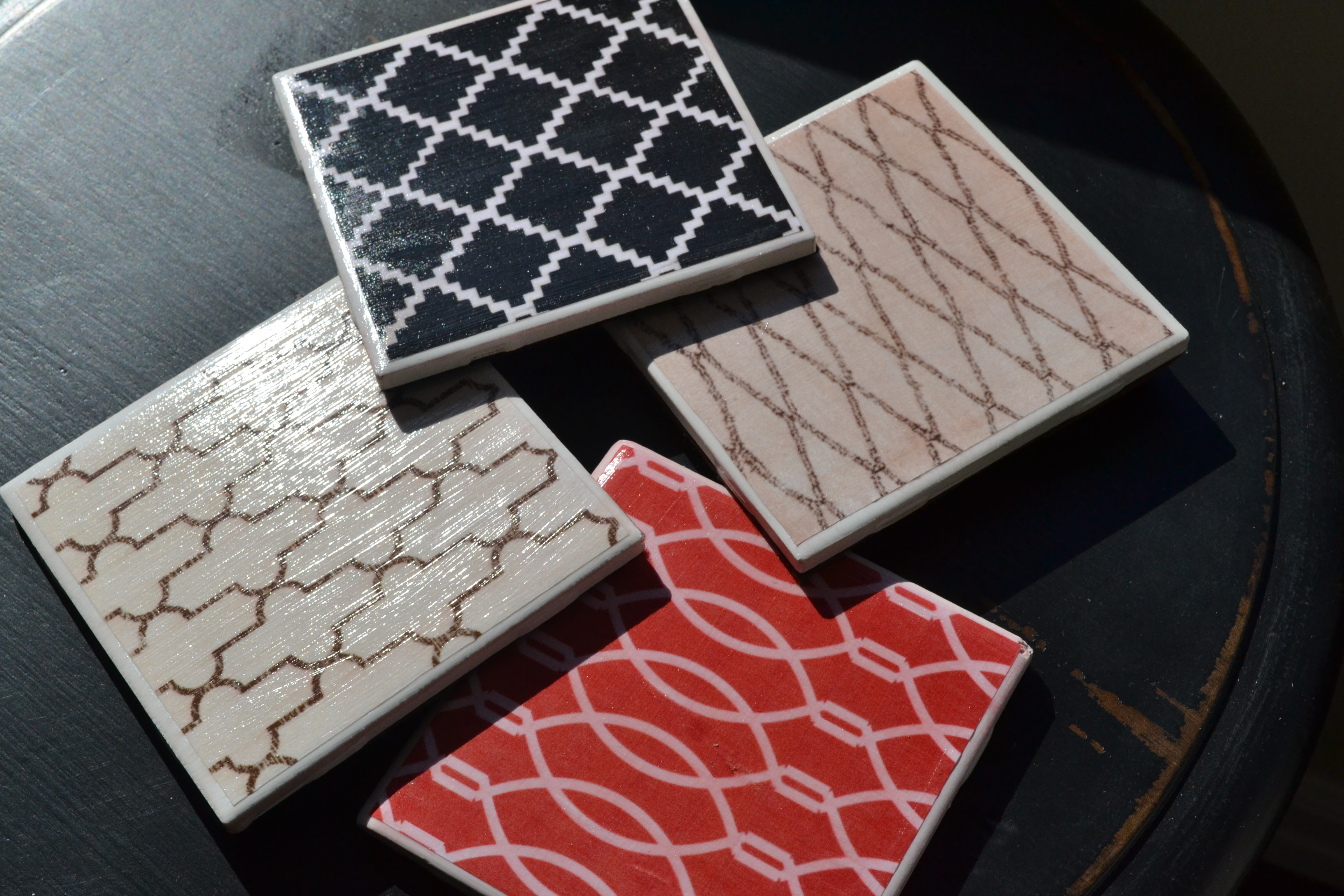 Diy drink coasters head east home for Best coasters for sweaty drinks